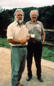 Figure 3: John Hurst and Maurice Beresford at Wharram Percy in 1989 for the presentation of a volume of rural studies dedicated to them (Photo: Mick Aston).