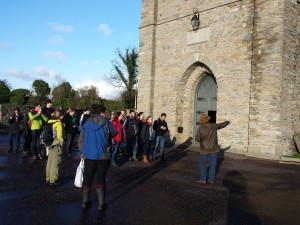 The field trip included a tour of the Downpatrick Cathedral by a local archaeologist.