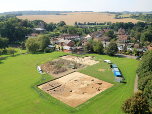 Lyminge, showing the pre-Christian royal focus under excavation